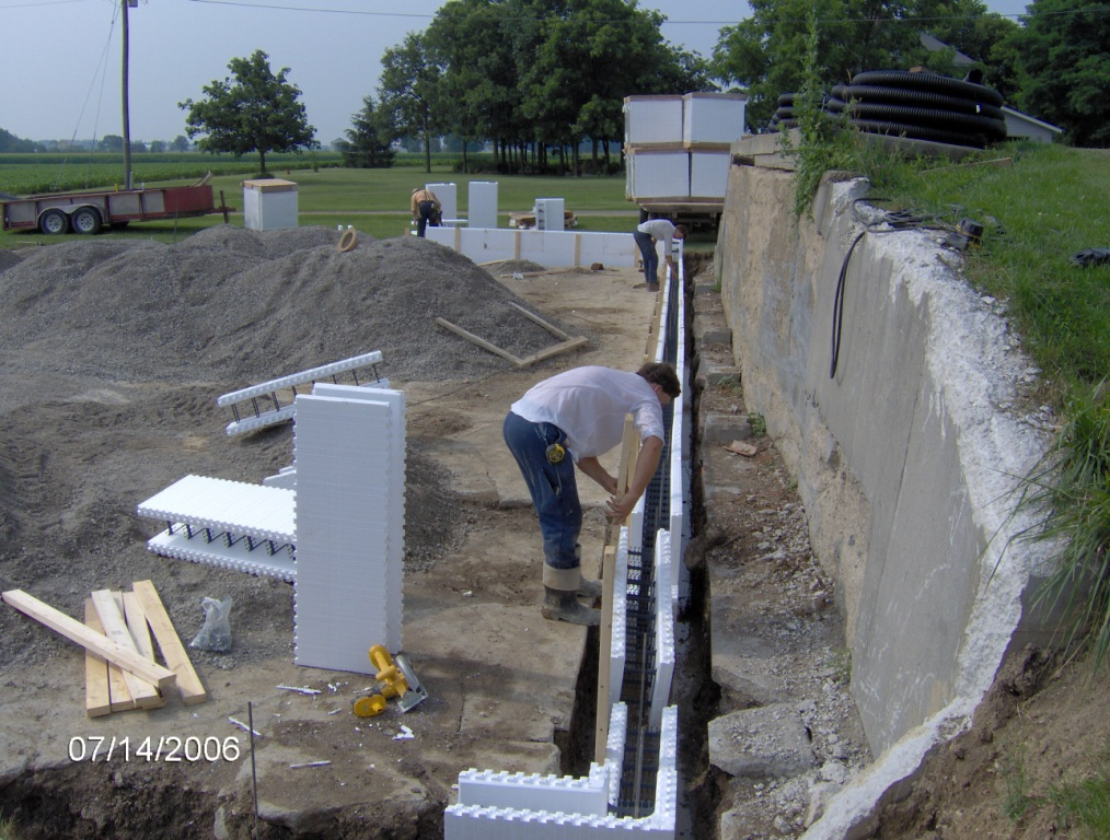 Foundation wall Insulated block construction